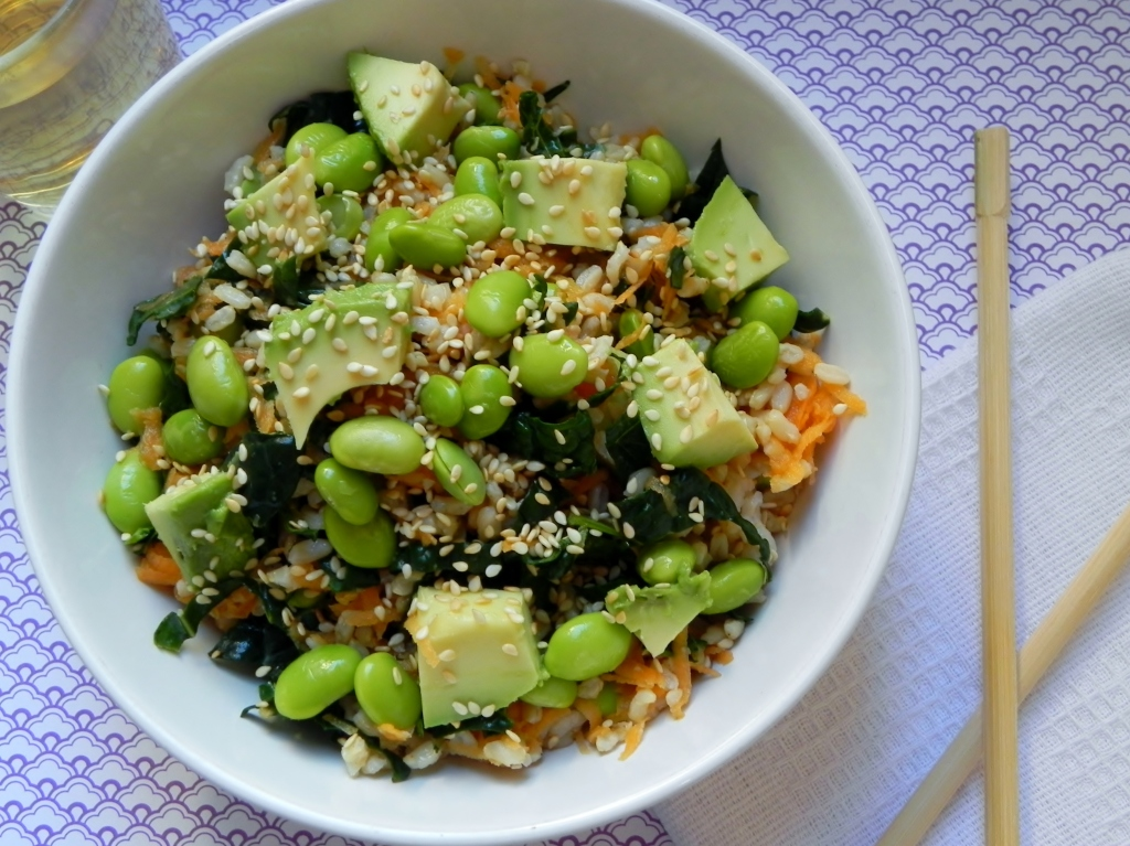 Edamame Sushi Bowl with Wasabi Dressing | VORACIOUS VEGGIE