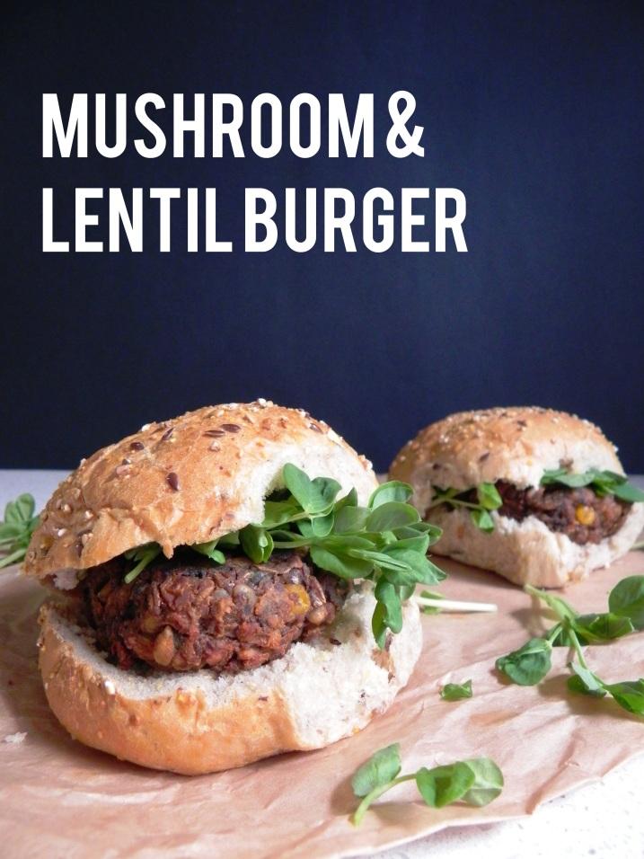 mushroom lentil burger 1