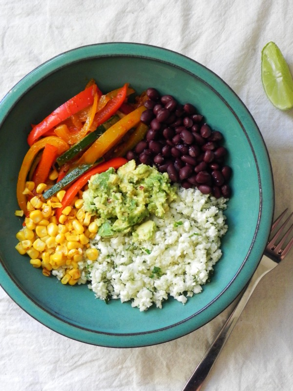 vegan fajita cauli rice bowl